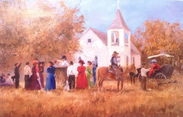 Box Supper at the Bazaar Church - 18 x 24  -  unframed: $35  framed: $120