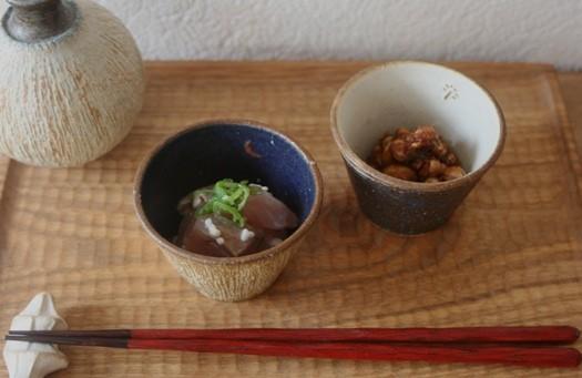 酒肴 イナダの刺身の塩麹漬け、味噌豆 / 小そば猪口