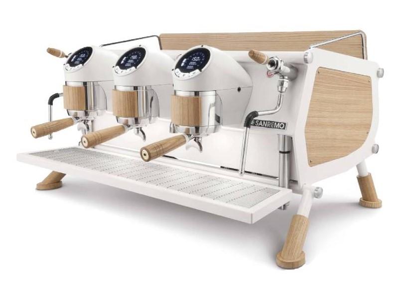 Sanremo  Siebträgermaschine Café Racer White & Wood Slim