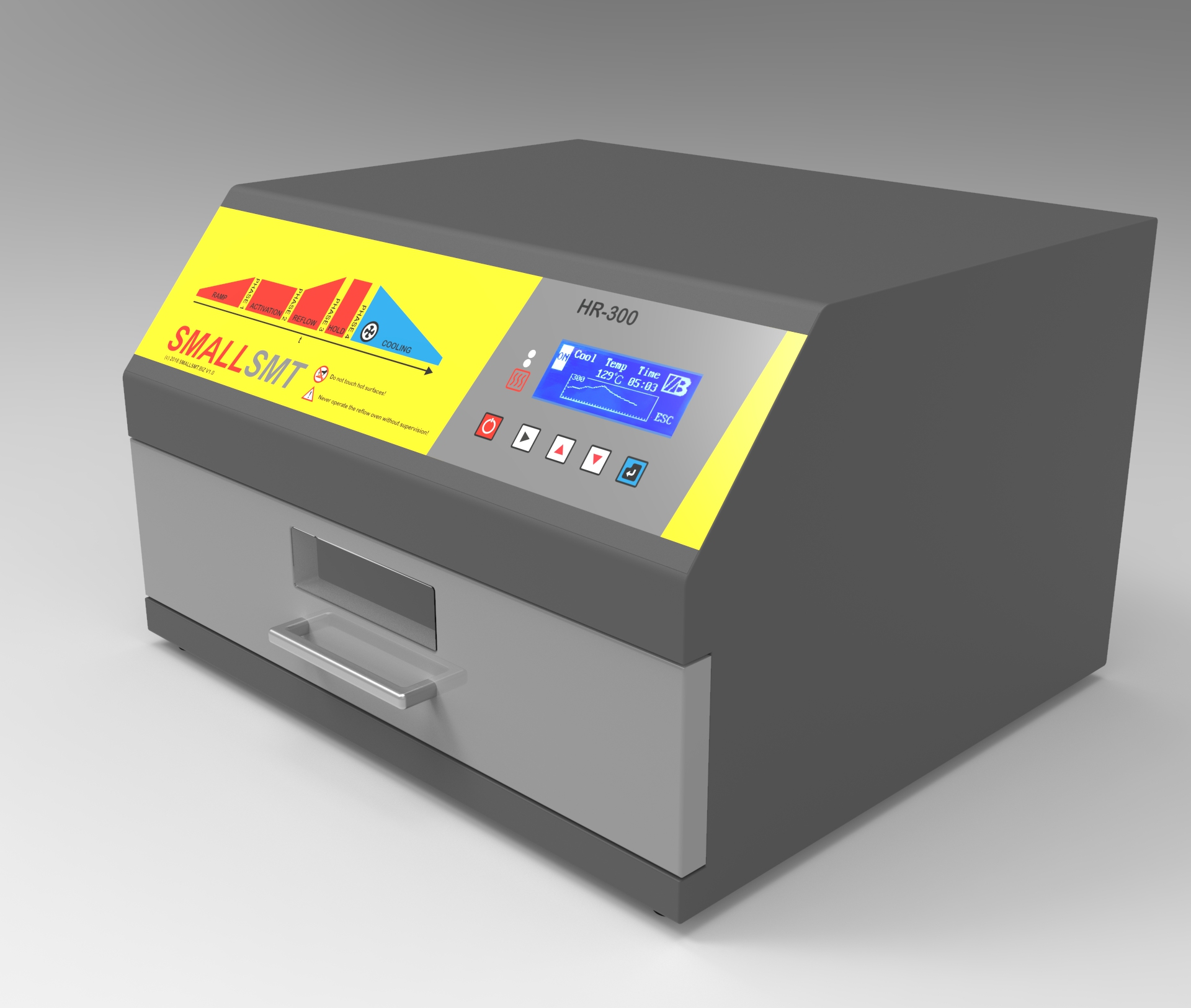 HR-300 Reflow oven using dark IR and hot air convectin plus active cooling