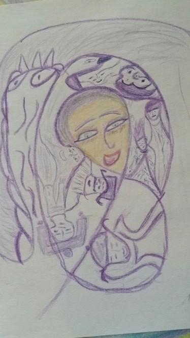 Die Frau in Lila
