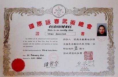 Wing Chun Kuen Meister Diplom für 3 Meistergrad