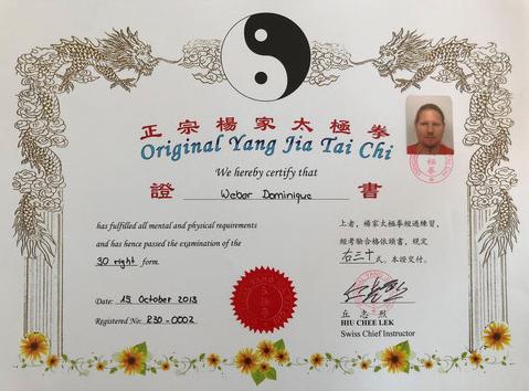 Yang Jia Tai Chi Meister Diplom 30 rechts
