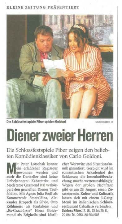 Kleine Zeitung vom 21. August 2012