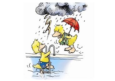 Bei Gewitter ist Baden lebensgefährlich.
