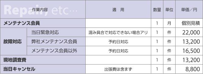 修理・技術費の料金表|新潟県の通信機器工事会社