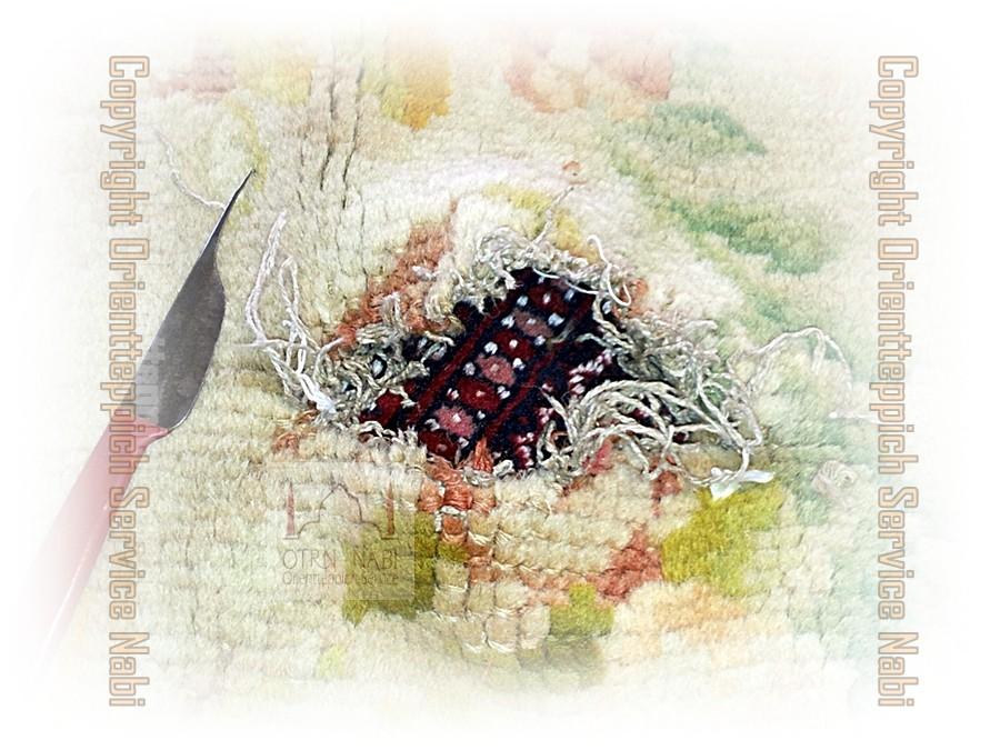 antike China Teppich Reparatur, (Bild 1)