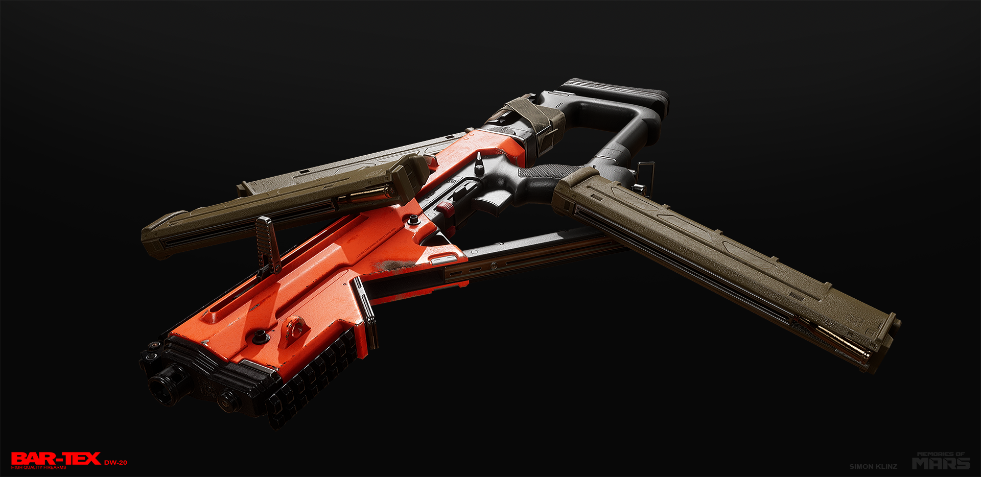 Submachine gun design for Memories of Mars. First person ingame model.