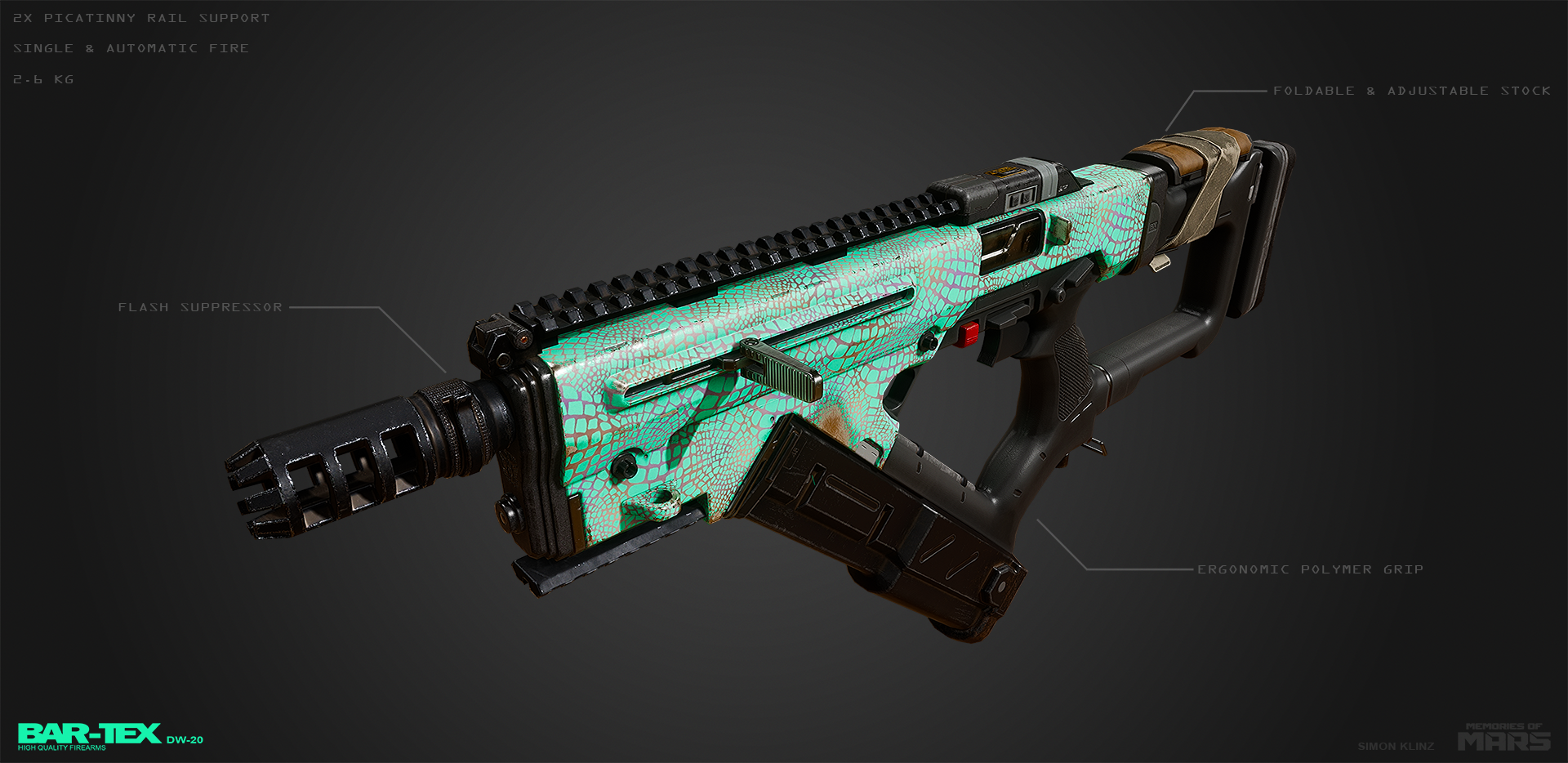 Submachine gun design for Memories of Mars. First person ingame model with extended barrel and magazine.
