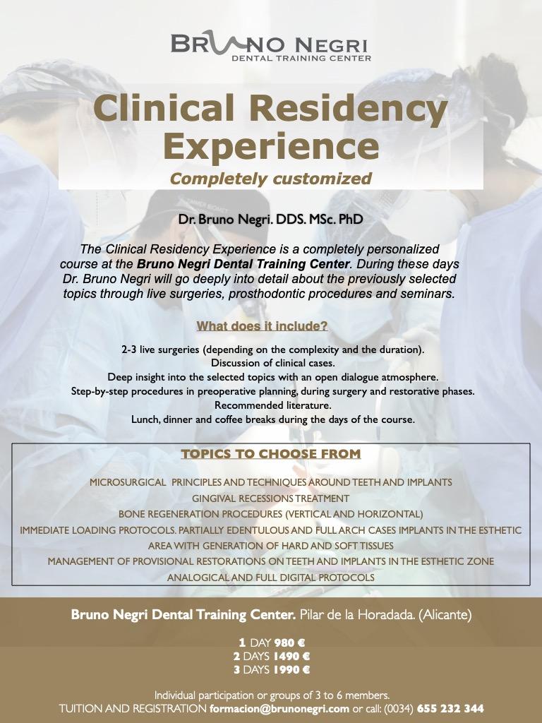 bruno negri, implants, bone regeneration, live surgeries, dental training spain, clinical residency, immediate loading protocols, seminars