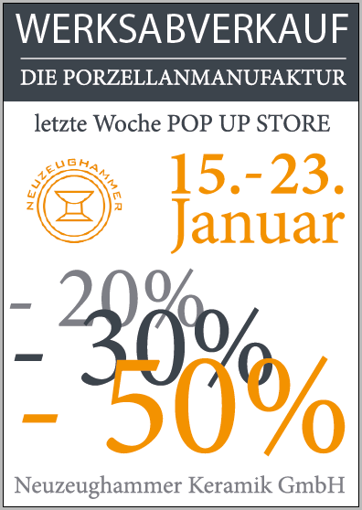 Plakat Werksabverkauf, Beate Seckauer,  Neuzeughammer Keramik