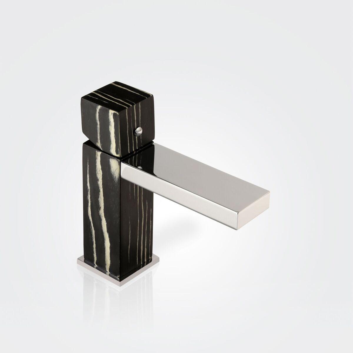 Niedrige Waschtischarmatur GHD02 (Ausführung Ebenholz schwarz/weiß)