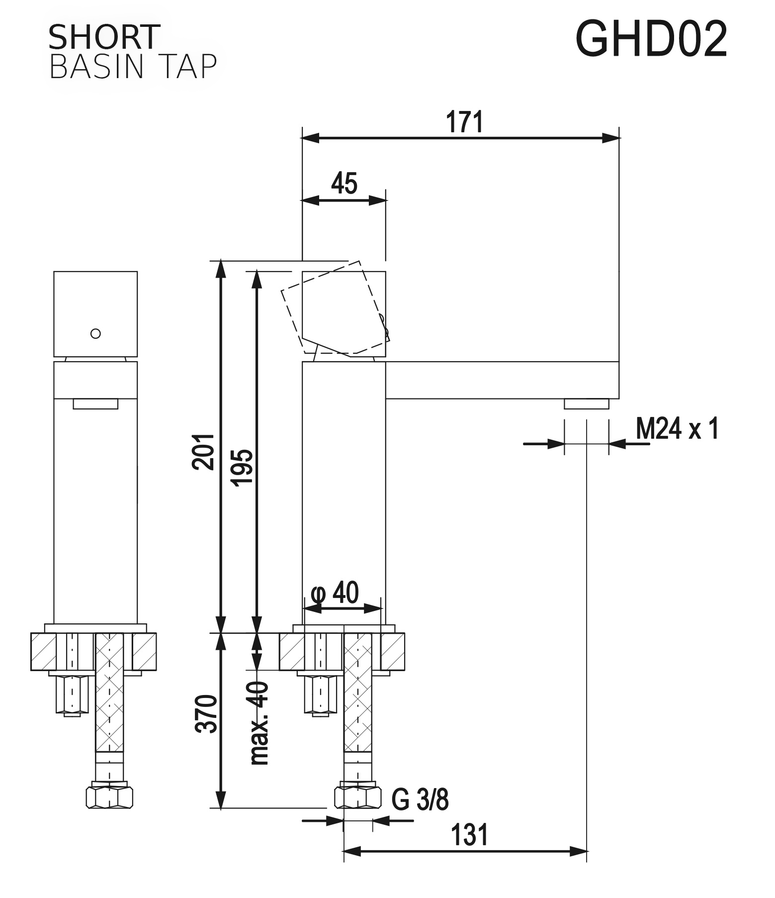 Niedrige Waschtischarmatur GHD02 (Technische Zeichnung)