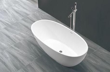 Freistehende Oval Eiförmige Badewanne Mit Kompakten Abmessungen Gefertigt Aus Einem Kern Massivem Mineralguss Versiegelt Hochwertigem Weißem