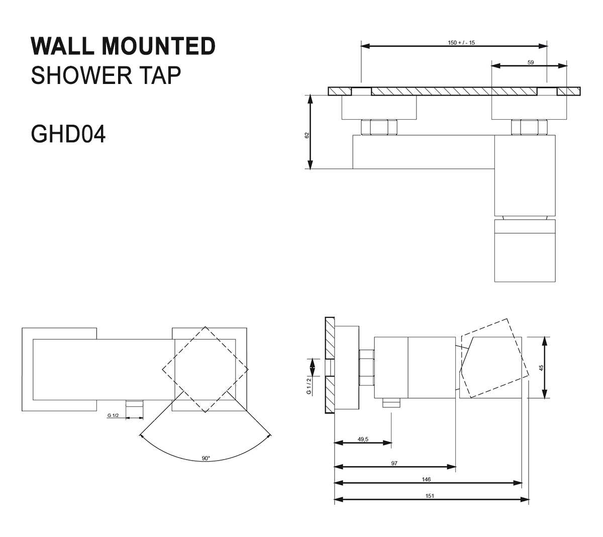 Brausearmatur GHD04 (Technische Zeichnung)
