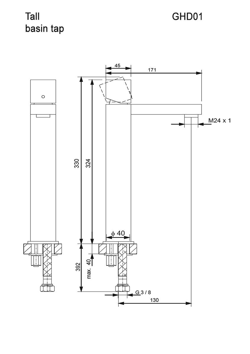 Hohe Waschtischarmatur GHD01 (Technische Zeichnung)