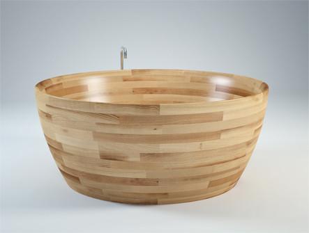Freistehende Badewanne MUNAI 138 (Esche Seidenglanz)
