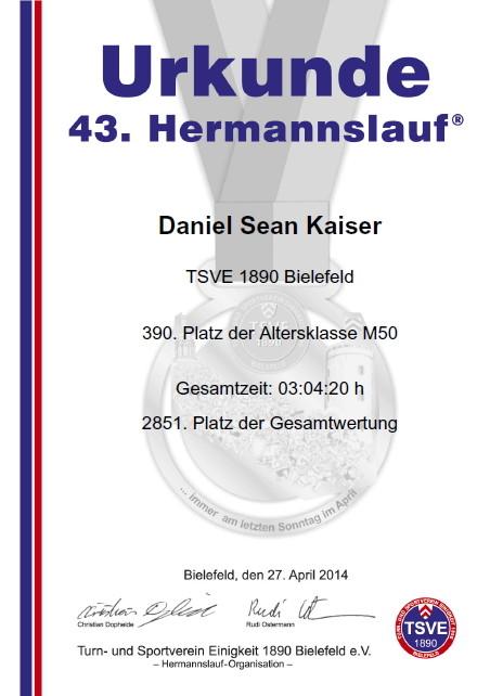 Hermannslauf 2014 - Urkunde
