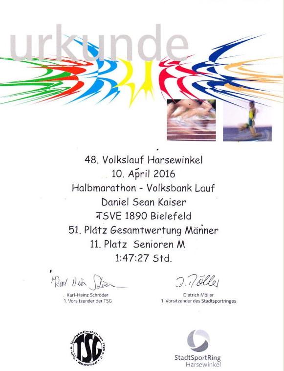 Volkslauf Halbmarathon Harsewinkel 2016 - Urkunde