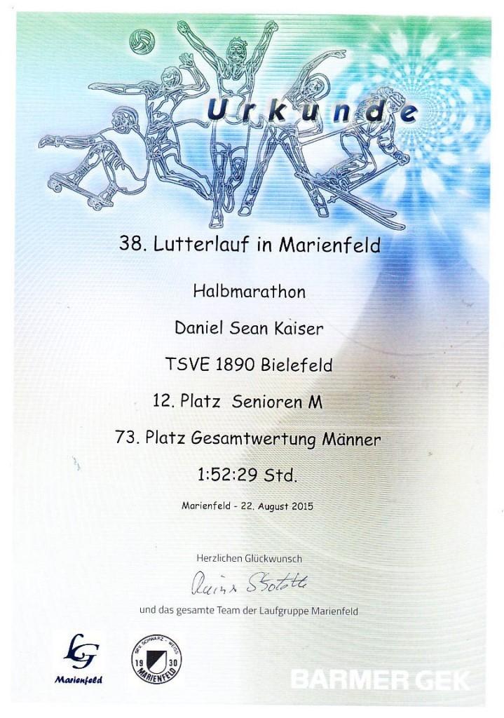 Lutterlauf Marienfeld 2015 - Urkunde