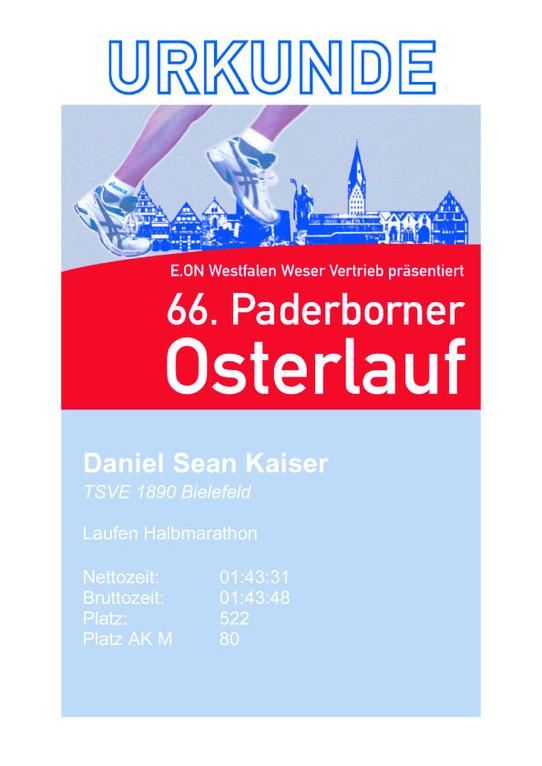 Paderborn Osterlauf 2012 - Urkunde