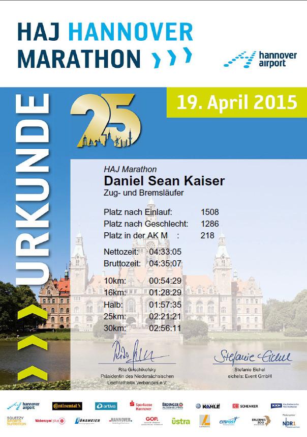 Hannover Marathon 2015 - Urkunde