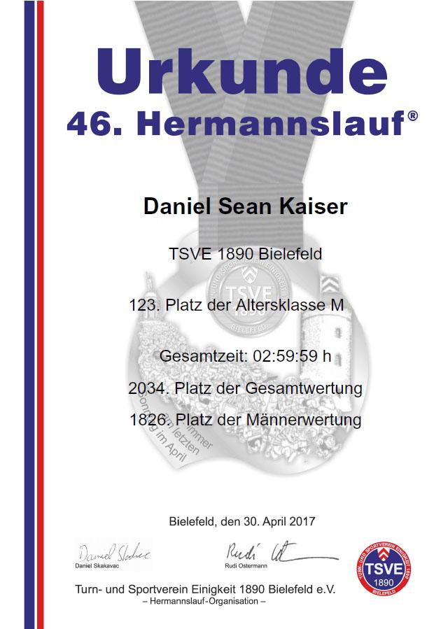 Hermannslauf 2017 - Urkunde