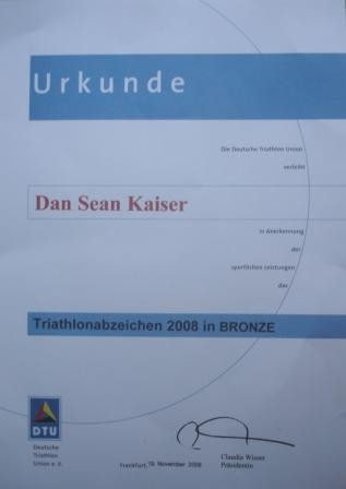 DTU - DeutscheTriathlon Union - Urkunde 2006