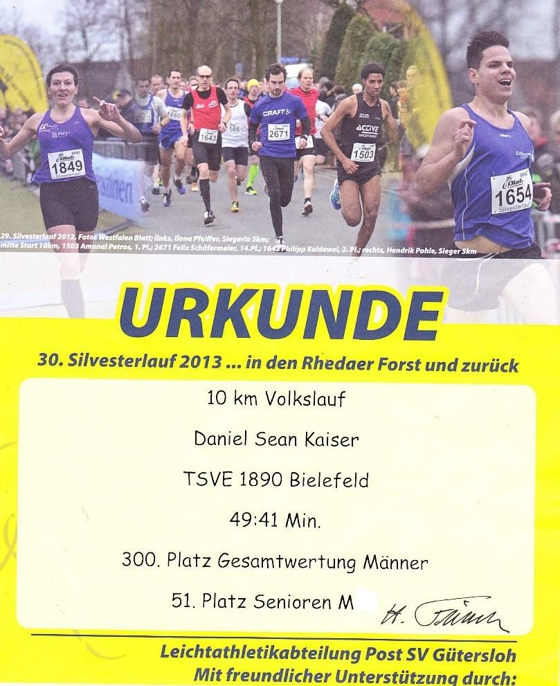 Silvesterlauf 2013 - Urkunde