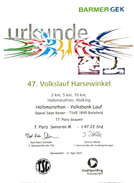 Volkslauf Harsewinkel 2015 - Urkunde