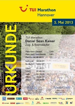Hannover Marathon 2013 - Urkunde