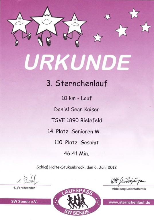 Sternchenlauf 2012 - Urkunde