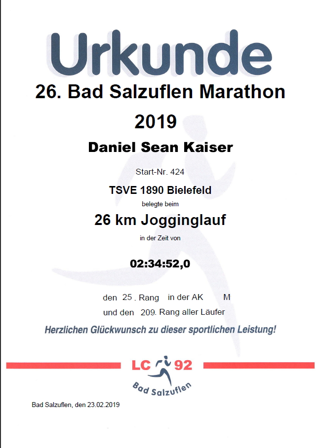 Bad Salzuflen 2019 - Urkunde