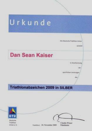 DTU - DeutscheTriathlon Union - Urkunde 2009