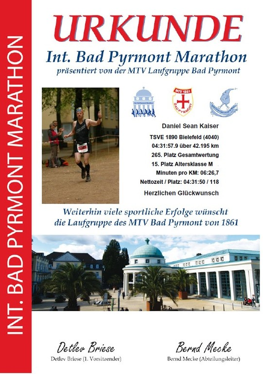 Bad Pyrmont Marathon 2012 - Urkunde