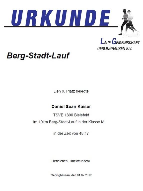 Berg-Stadt-Lauf 2012 - Urkunde