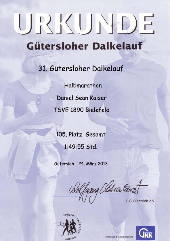 Dalkelauf GT 2013 - Urkunde