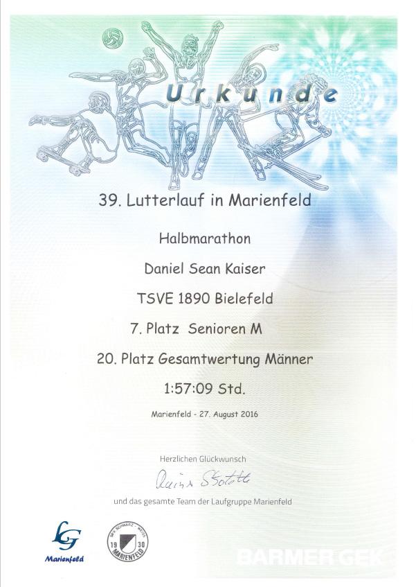 Lutterlauf 2016 - (Halb-)Marathon - Urkunde