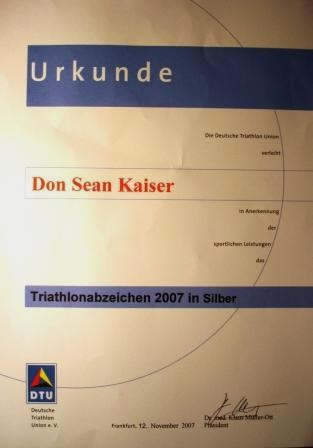 DTU - DeutscheTriathlon Union - Urkunde 2007