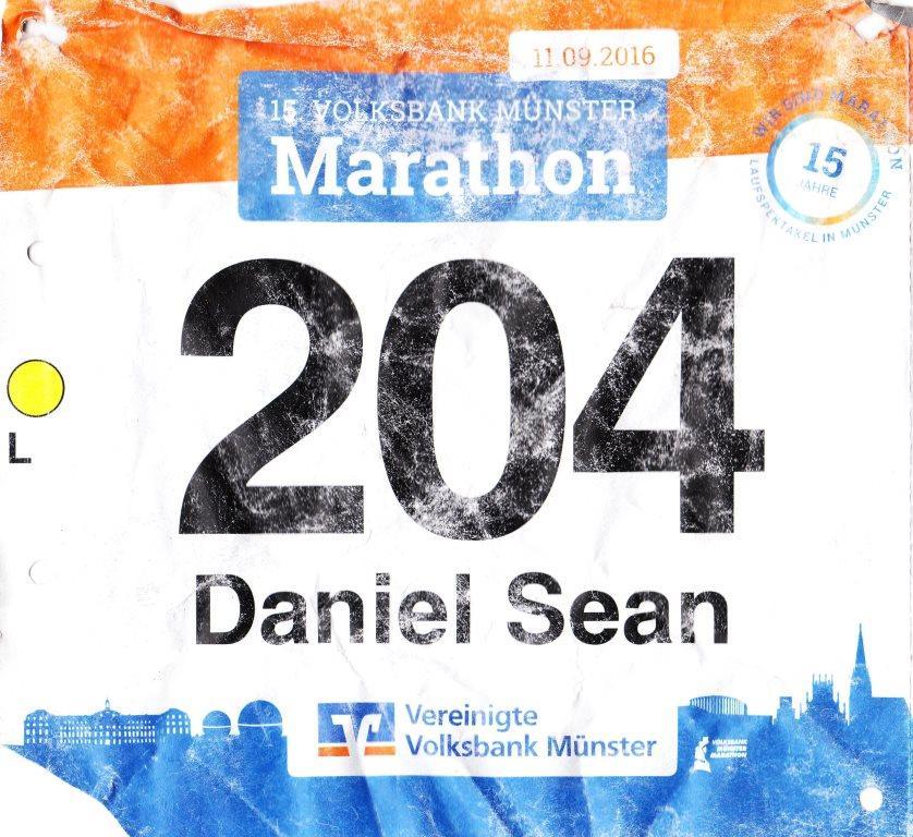 Münster Marathon 2016 - Startnummer