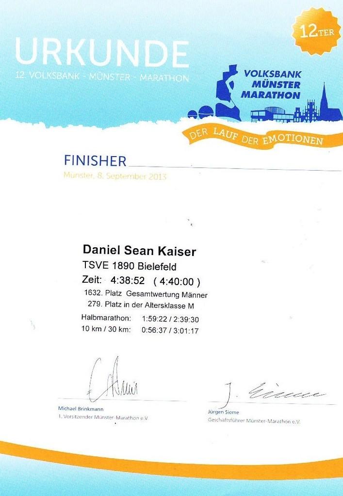 Münster Marathon 2013 - Urkunde