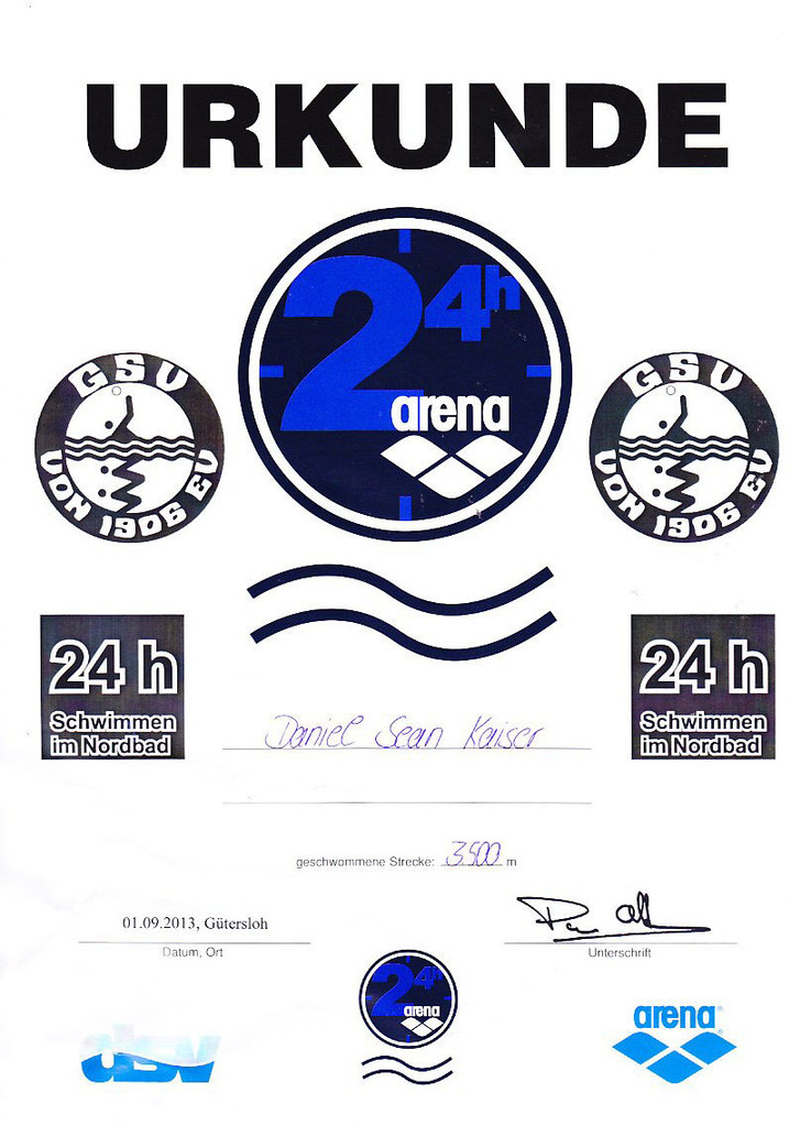24 h Swim 2013 - Urkunde