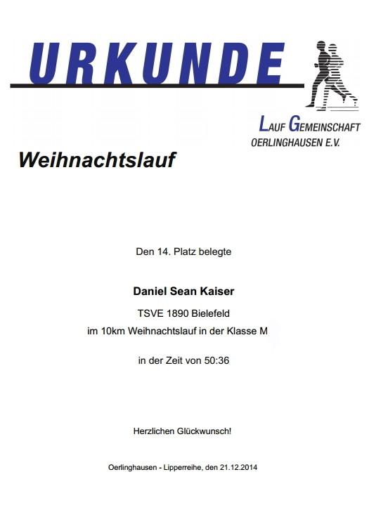 Weihnachtslauf Oerlinghausen 2014 - Urkunde