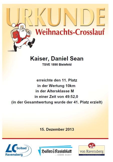 Weihnachtslauf 2013 - Urkunde
