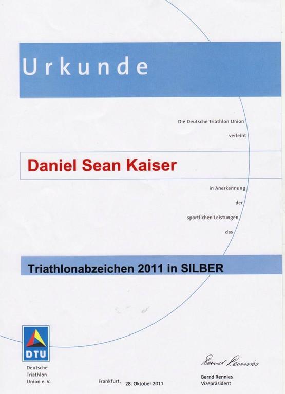 DTU - DeutscheTriathlon Union - Urkunde 2011
