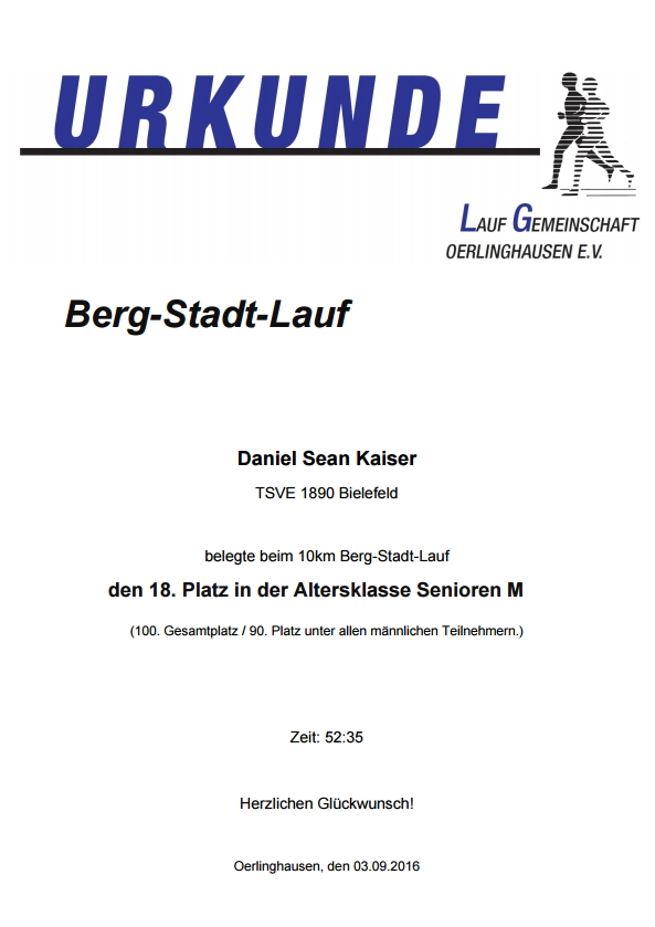 Berg-Stadt-Lauf 2016 - Urkunde