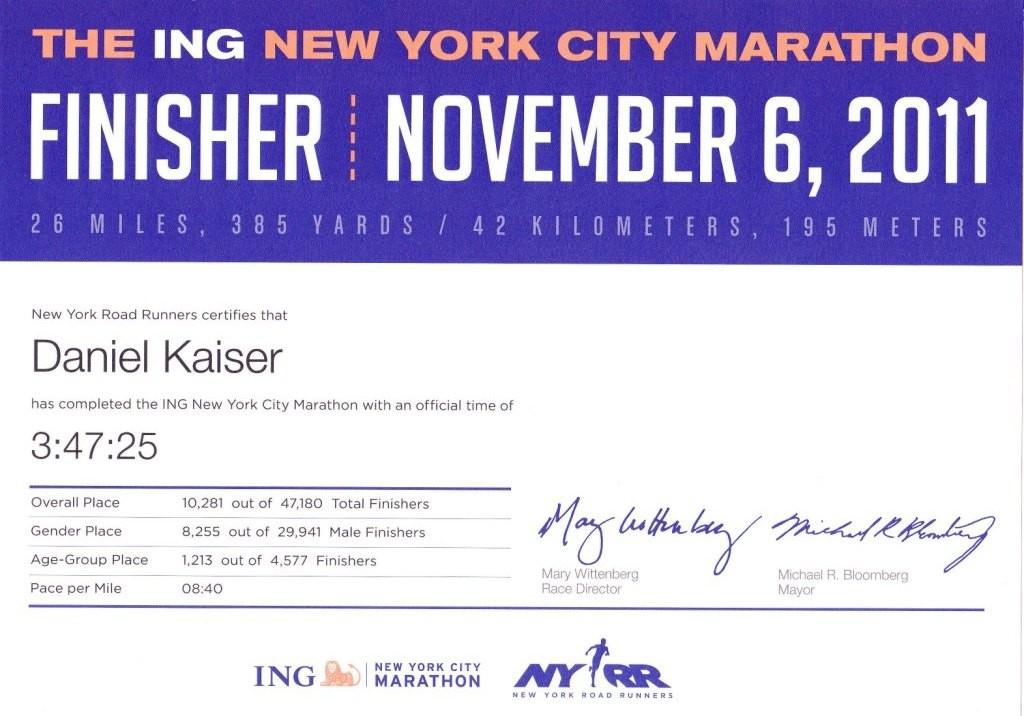 New York City Marathon 2011 - Urkunde