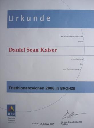 DTU - DeutscheTriathlon Union - Urkunde 2008