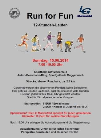 Run for Fun Marienfeld 2014 - Flyer