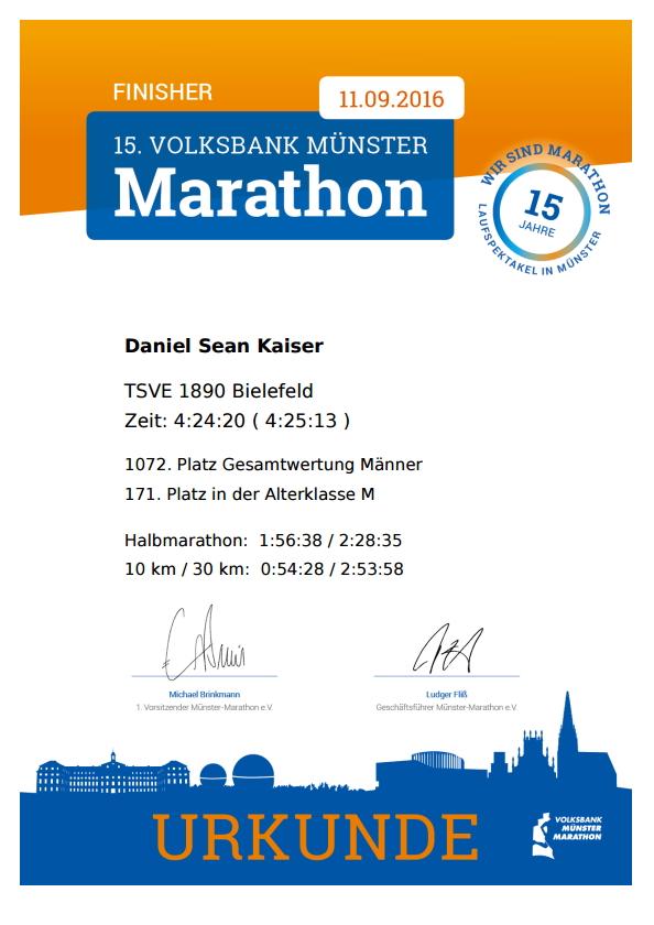 Münster Marathon 2016 - Urkunde